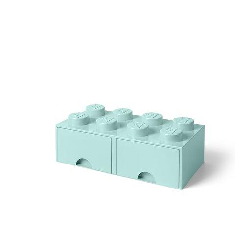LEGO Opbevaringsskuffe Brick 8 - Aqua Blå