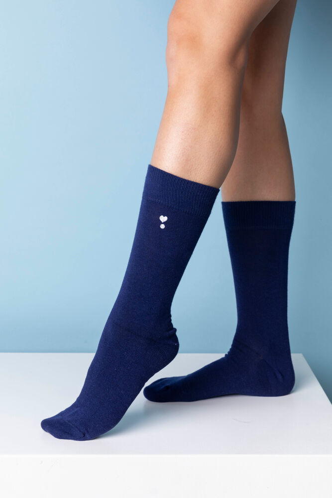 Image of COZY BY JZ Love you strømper - DARK BLUE (d3757037-b057-431f-a529-14aade3b72db)