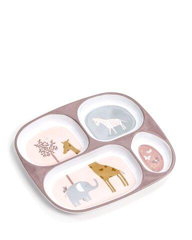 4-rums tallerken m. rosa dyr