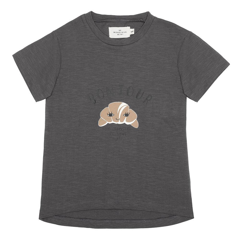 Image of Monsieur Mini T-shirt croissant - Forged Iron (aba805fa-e826-40a7-bcdd-60cf7638fc13)