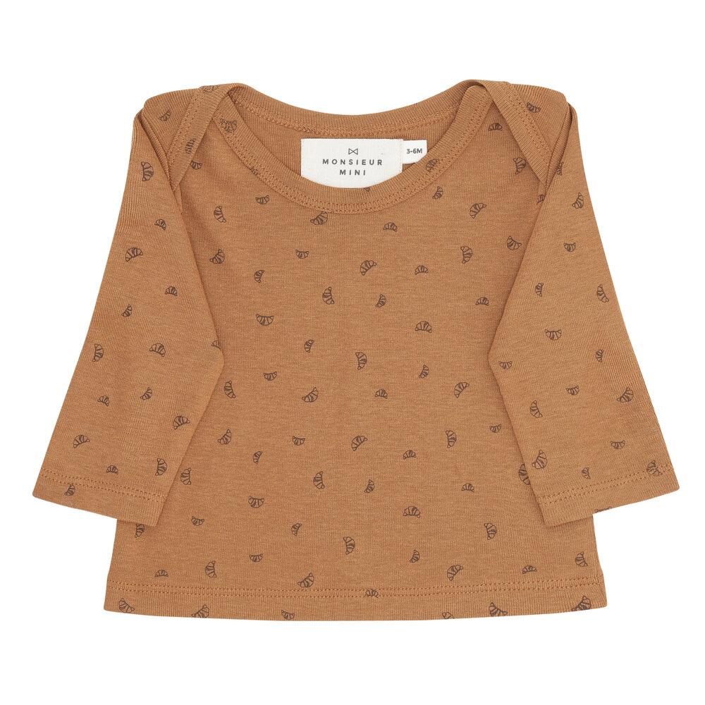 Image of Monsieur Mini Baby tshirt mini croissant AOP - CHESTNUT (0f5cfa52-21de-420c-bee2-64055d3e6495)