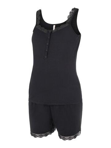 Nenna lia S/L jersey short pyjamas - BLACK