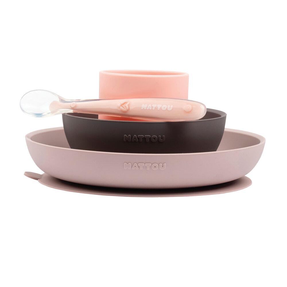 Image of Nattou Spisesæt, 4-pak pink/aubergine (7869ee5b-4f14-4c31-be5f-2b666cc674bf)