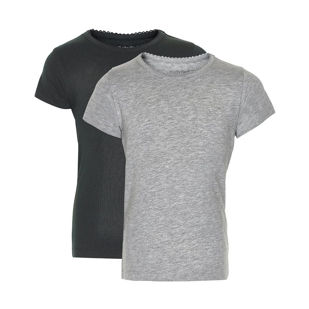 Image of Minymo 2 Pak Basic T-Shirt - Black/Grey/193 (ac6368d5-56c2-4053-b118-be0154d22f7f)