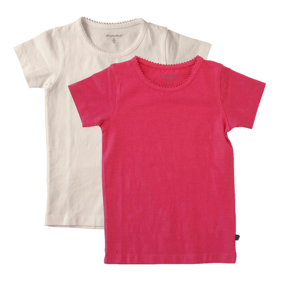 Image of Minymo 2 Pak Basic T-Shirt - Dark Pink 577 (2fa8a2f8-a9c0-47ca-b31b-165853cfaa4f)