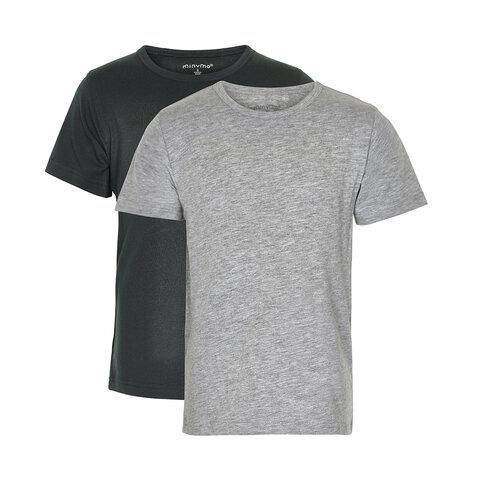 2 Pak Basic T-Shirts - 193 Anthracite Black