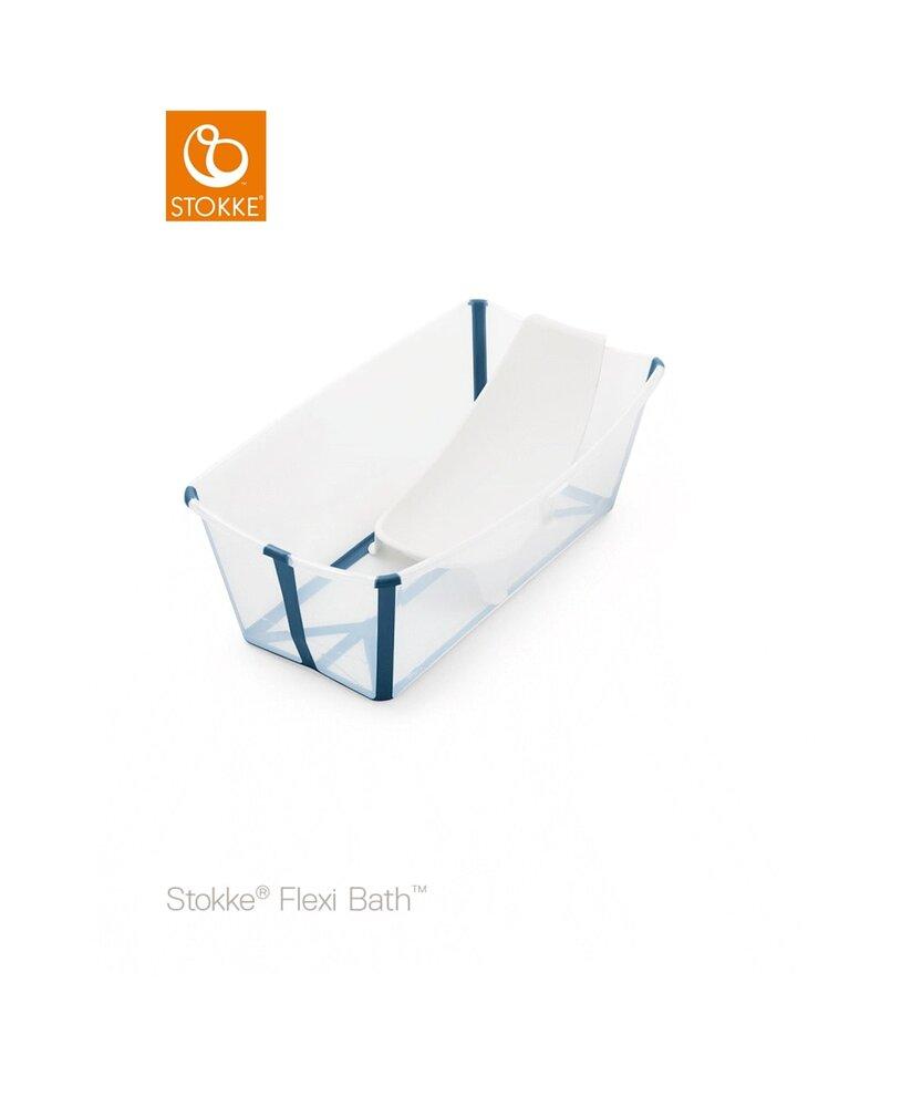 Image of Stokke® Flexi Bath og Newborn Support Med Varmefølsom Prop - Transparent/Blå (1b81bafa-d23f-4968-a60f-b01a03083adc)