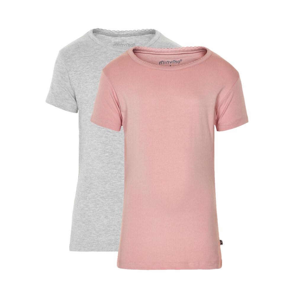 Image of Minymo 2 Pak Basic T-Shirt - Dark Pink 568 (621dd1b0-b43b-4a4d-b590-8a3084eac0bc)