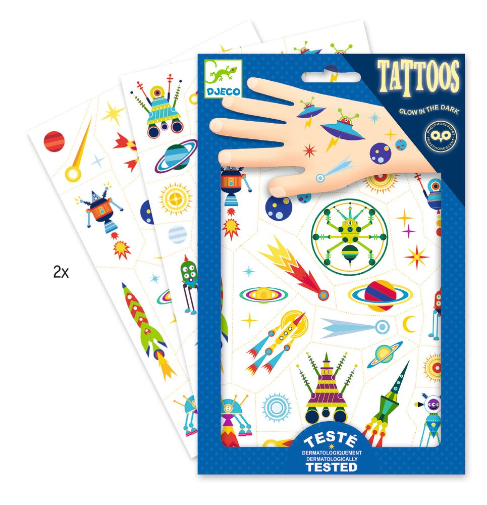 Image of Djeco Tattoos, Space Selvlysende (30a4defc-3bed-423a-a928-5cba5cb28d3b)