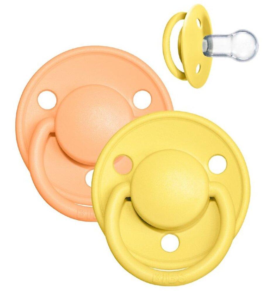 Image of BIBS De Lux sut 2 pk silicone onesize Sunshine/Peach (f1cac6cc-39ed-4aa8-9453-62f78a550e09)