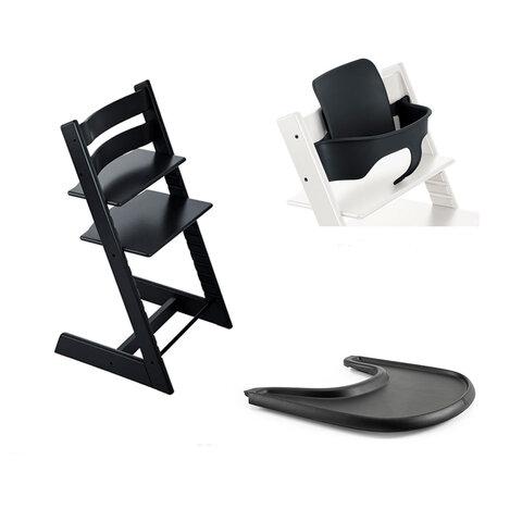 Højstol - sort inkl. babysæt og tray