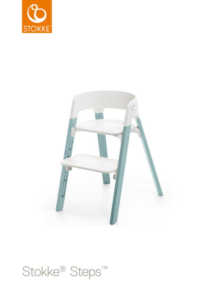 Image of Stokke® Steps™ Højstol, Hvid/Aqua Blue (eec0a844-9b19-4480-a2da-2d370cfc5fdf)