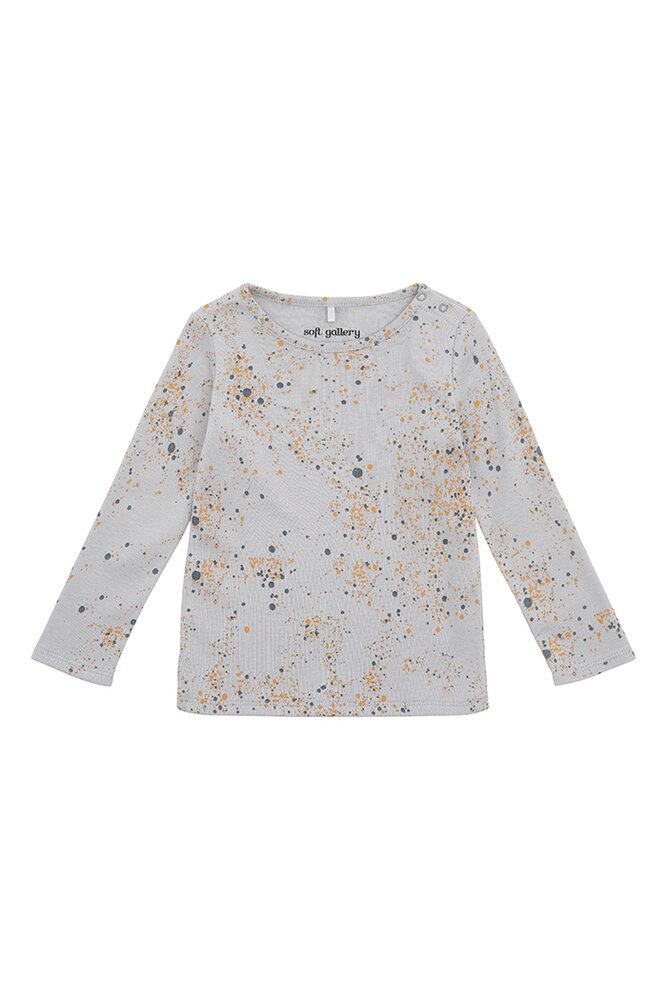 Image of Soft Gallery Baby Bella T-shirt - Ocean Grey, AOP Mini Splash Blue (d2e0fac9-001e-4414-9724-020c95cfcebc)