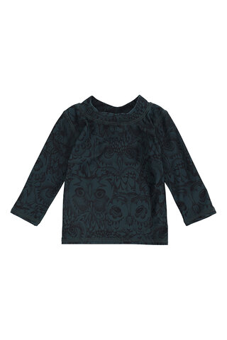 Baby Astin Badebluse - Orion Blue, AOP Owl