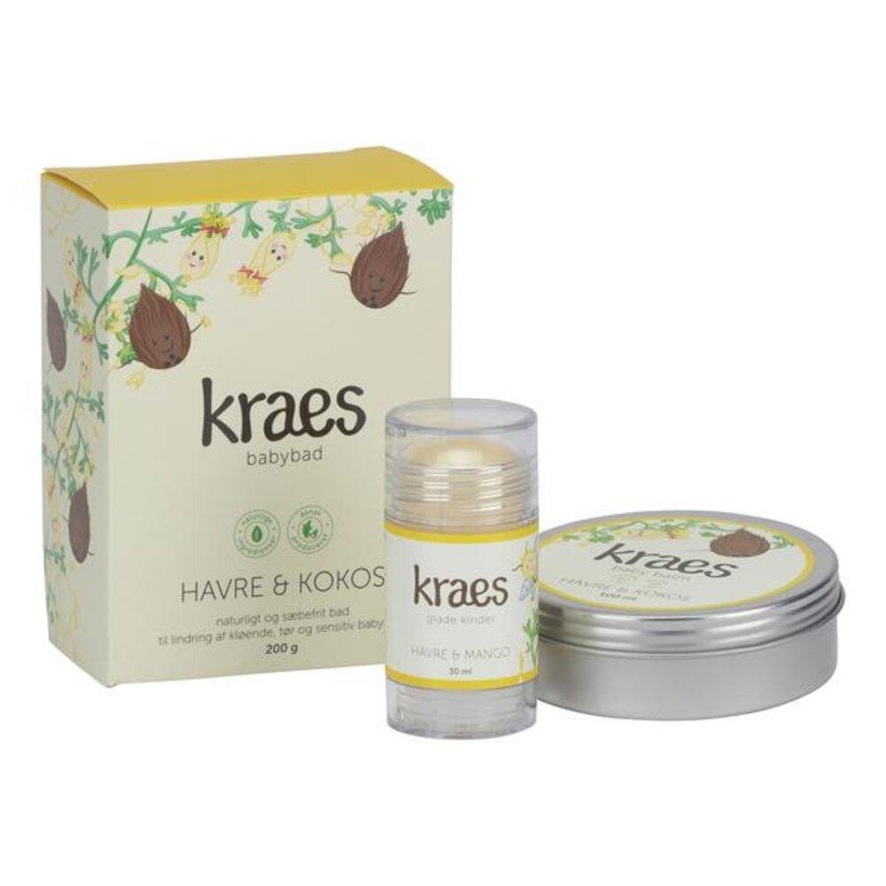 Image of Kraes Gaveæske - babybad havre/kokos, baby balm & glade kinder (57529eae-dbbf-47ea-831c-f59070167013)