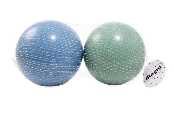 2 Plastikbolde i net (grøn og blå - 15cm)