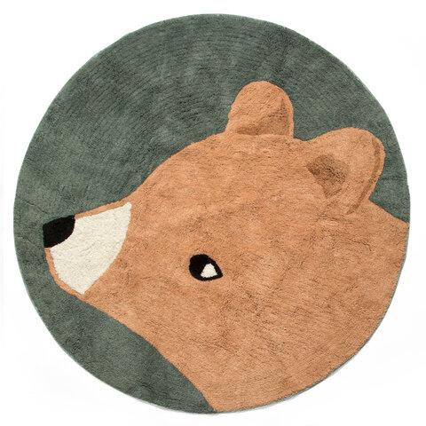 Vævet gulvtæppe, bjørnen Woody, midnight green