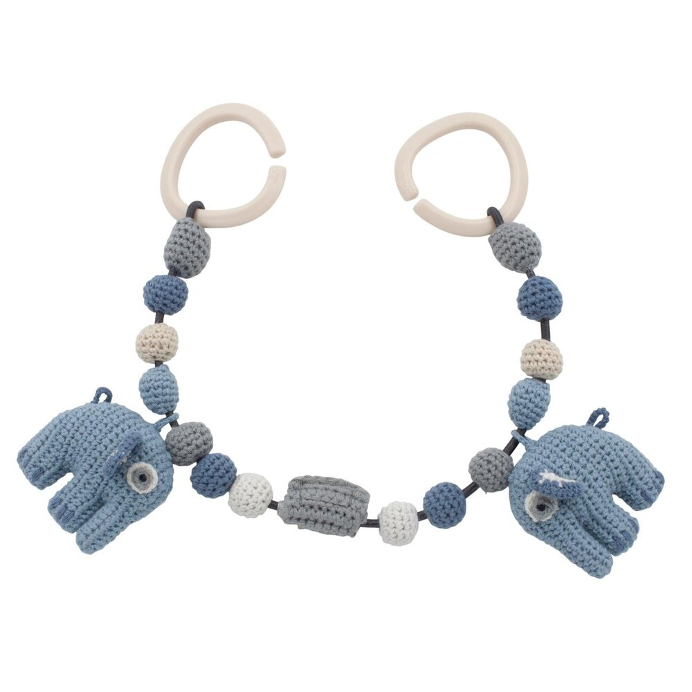 Sebra Hæklet barnevognskæde, elefanten Fanto, blue