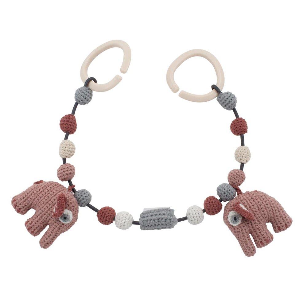 Sebra Hæklet barnevognskæde, elefanten Fanto, pink