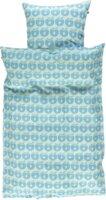 Baby sengetøj æbler - blue grotto