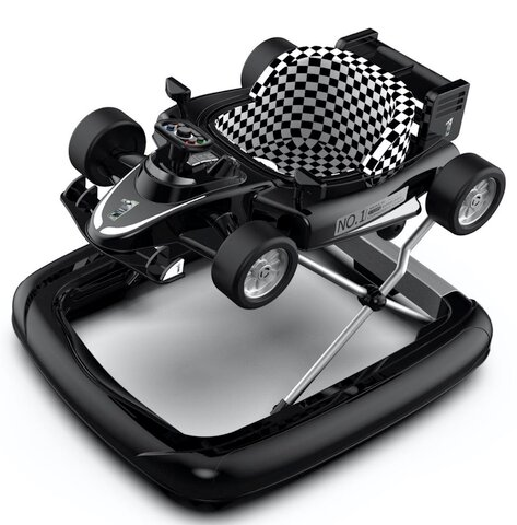 2-i-1 Gåstol - F1 Racer - Sort