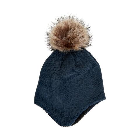 baby hat m. detachable fur - 7850