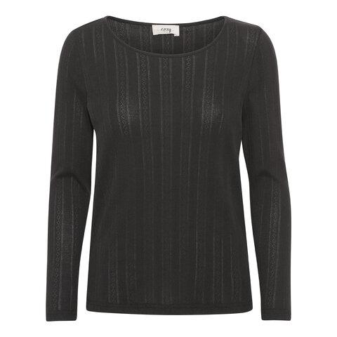 Soft touch langærmet t-shirt - BLACK