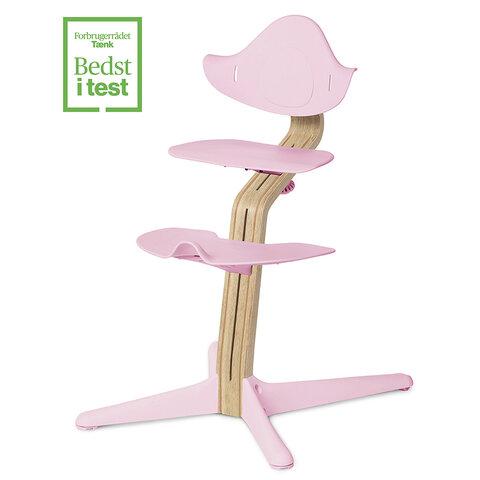 Højstol - pale pink m. lys eg/bøg