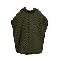 Bade poncho - zigzag, dark green