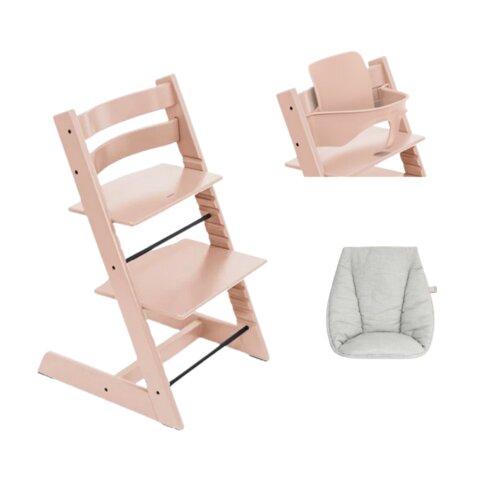 Højstol - serene pink inkl. babypude og babysæt
