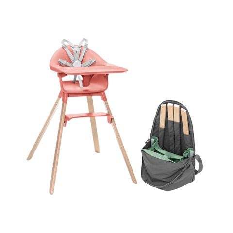 Clikk højstol inkl. transporttaske - sunny coral