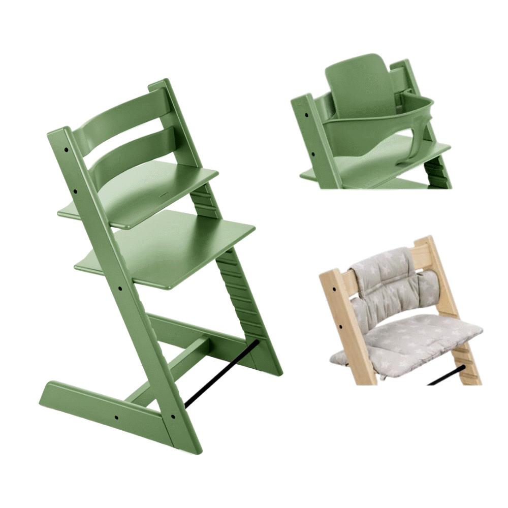 Image of TRIPP TRAPP® Højstol - moss green inkl. pude og babysæt (3dbaceb6-ded1-4432-b250-432345b60e5b)
