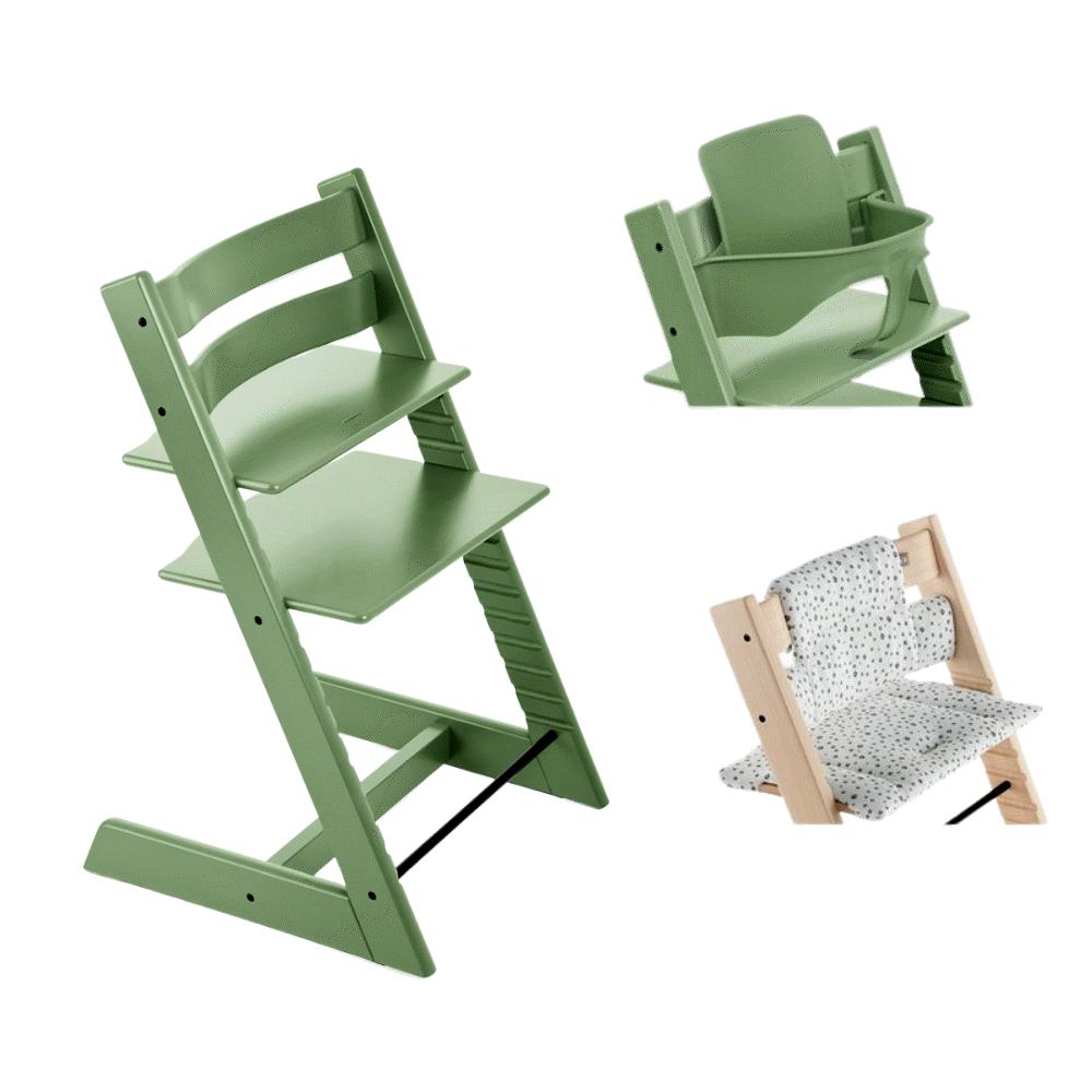 Image of TRIPP TRAPP® Højstol - moss green inkl. pude og babysæt (b3695974-e4f1-4dc6-9c5d-3f51efebd66e)