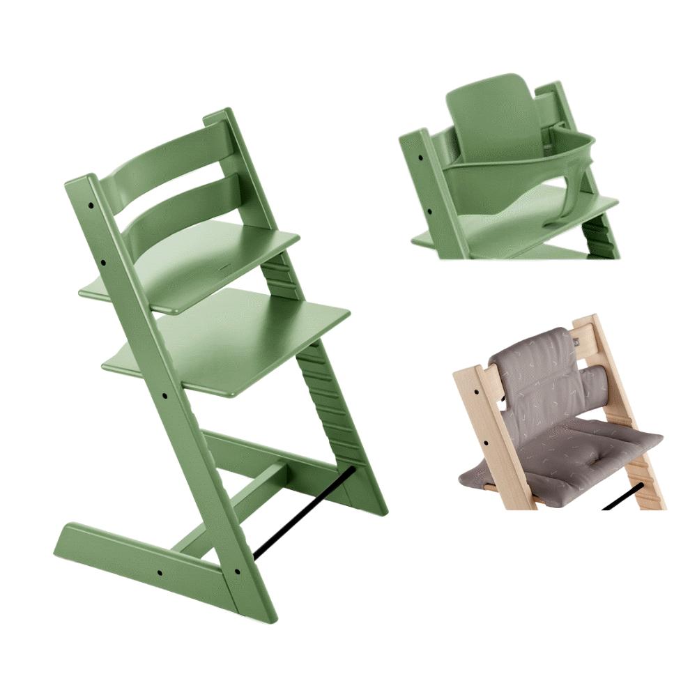 Image of TRIPP TRAPP® Højstol - moss green inkl. pude og babysæt (380680a2-121d-4c61-a38e-a934a211333c)