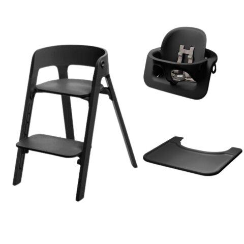 Steps højstol - sort/sort inkl. babysæt og tray