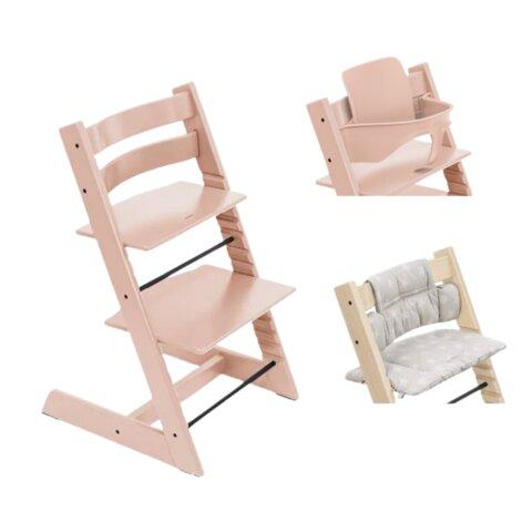 Højstol - serene pink inkl. pude og babysæt