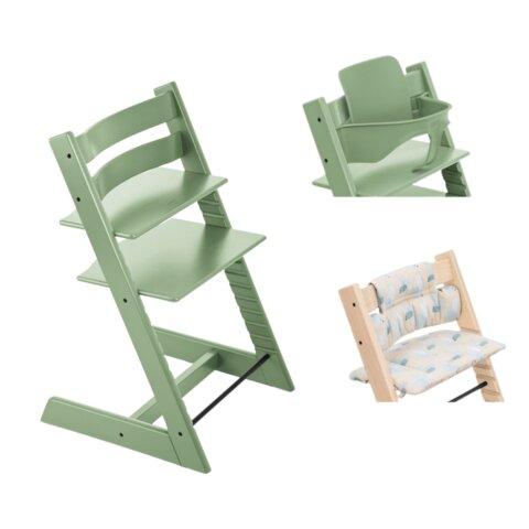 Højstol - moss green inkl. pude og babysæt