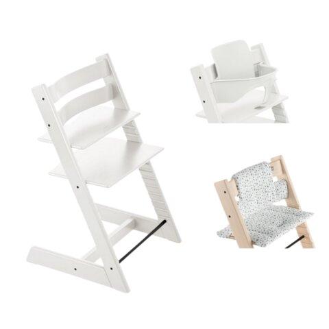 Højstol - hvid inkl. pude og babysæt