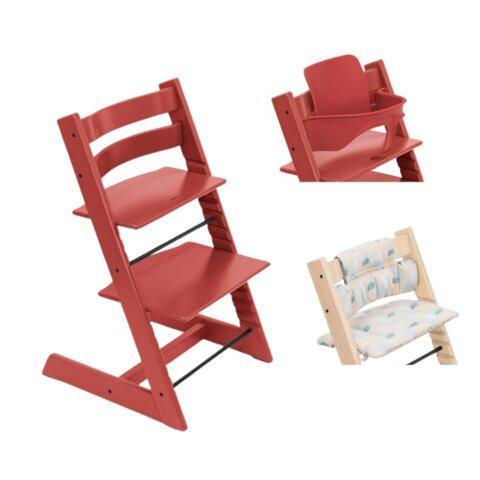 Højstol - warm red inkl. pude og babysæt